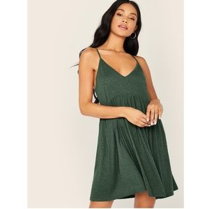 Casual Army Green Criss Cross Back Mini Dress